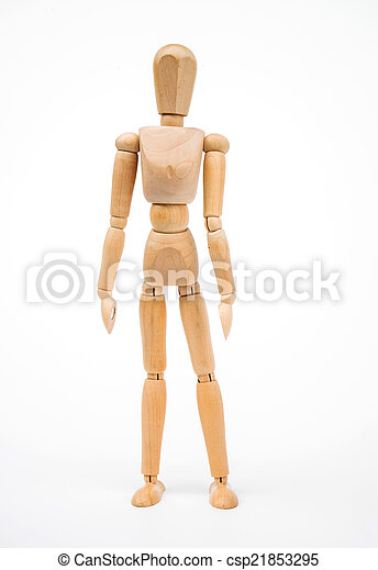 A wooden Mannequin isolated on white background - csp21853295