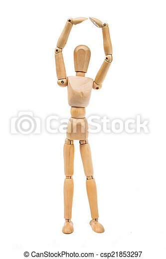A wooden Mannequin isolated on white background - csp21853297