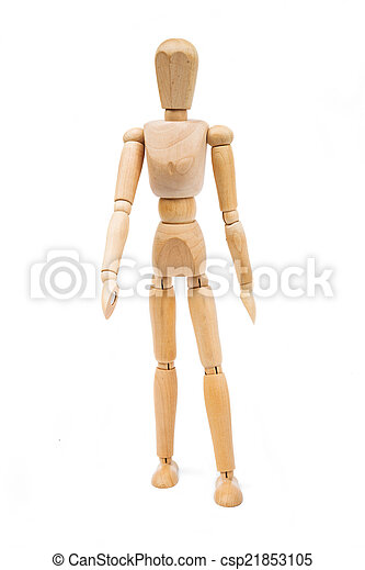 A wooden Mannequin isolated on white background - csp21853105