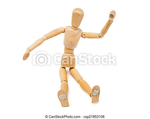 A wooden Mannequin isolated on white background - csp21853106