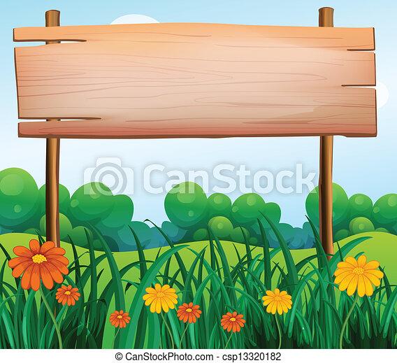 A wooden signboard in the garden - csp13320182