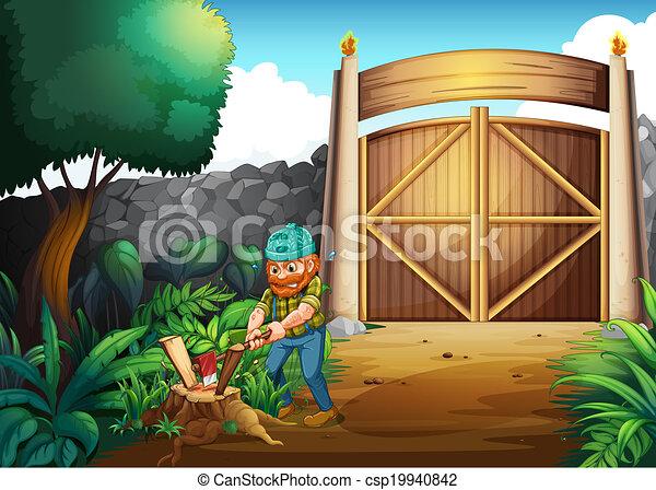 A woodman chopping woods - csp19940842