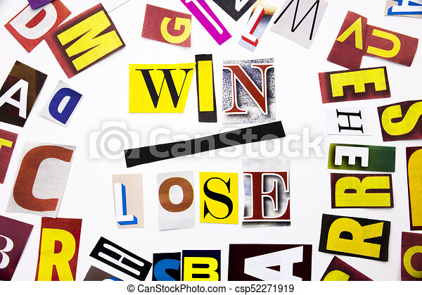 A word writing text showing concept of Win Lose made of different magazine newspaper letter for Business case on the white background with copy space - csp52271919