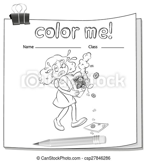 A worksheet with a young girl - csp27846286