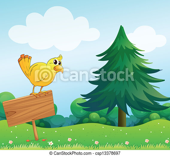 A yellow bird at the top of an empty wooden signboard  - csp13378697