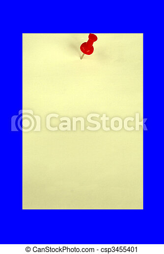 A yellow card with a red pin isolated in blue.  Your text is here. - csp3455401