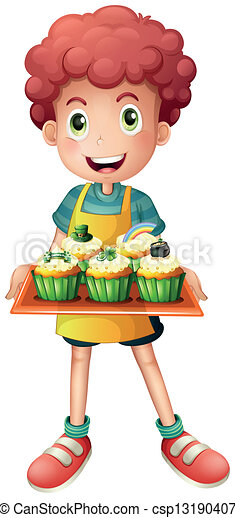 A young baker holding a tray with cupcakes - csp13190407