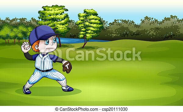 A young baseball player at the field near the river - csp20111030