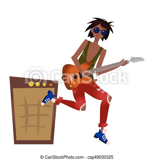 A young black man playing the guitar. Rock musician. Vector illustration, isolated on white. - csp49030325