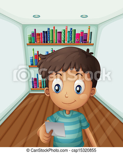 A young boy in front of the bookshelves - csp15320855