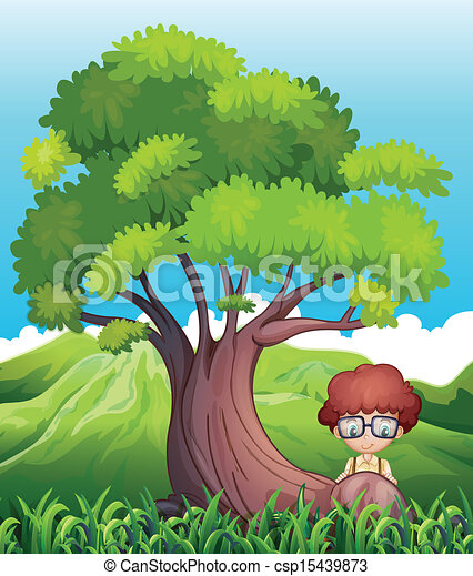 A young boy near the roots of the giant tree - csp15439873