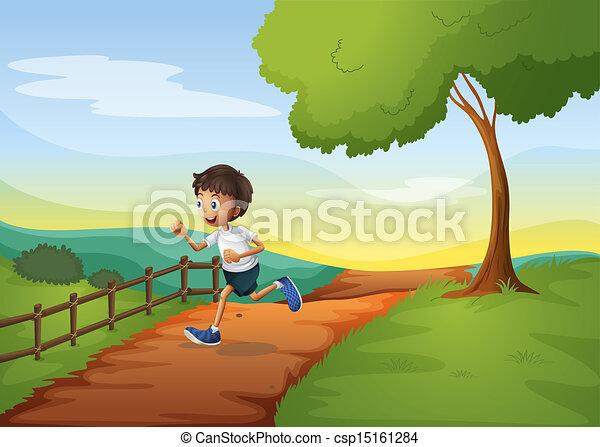A young boy running - csp15161284