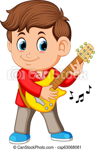 A young boy sings and plays on the electric guitar - csp63068081