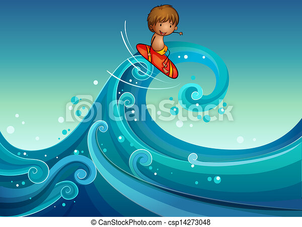 A young boy surfing - csp14273048