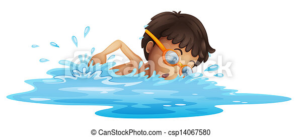 A young boy swimming with a yellow goggles - csp14067580