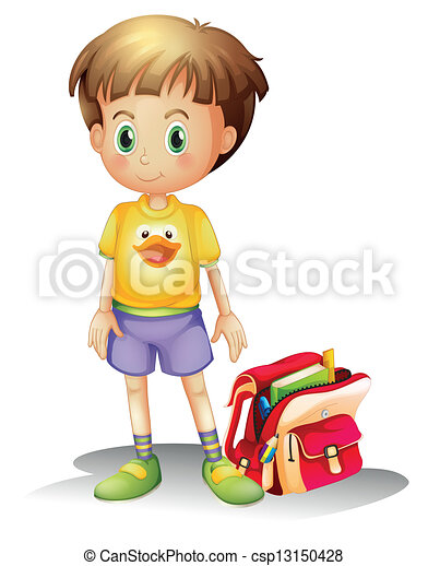 A young boy with his school bag - csp13150428