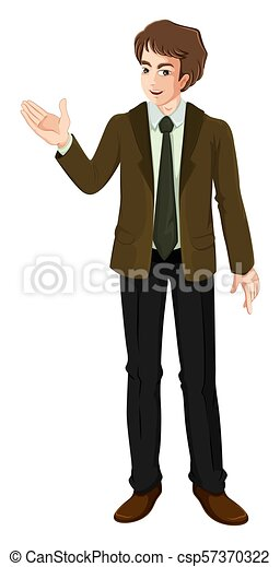 A Young Businessman on White Background - csp57370322