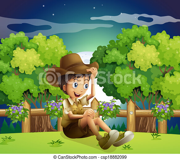 A young explorer above the hill - csp18882099