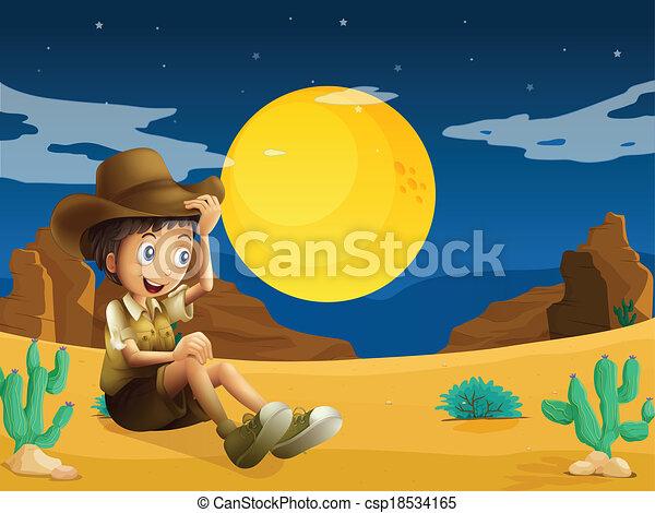 A young explorer at the dessert - csp18534165