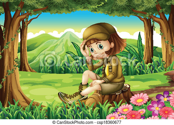 A young explorer at the forest - csp18360677