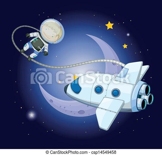 A young explorer near the moon - csp14549458