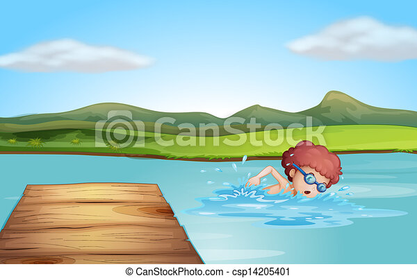 A young gentleman swimming at the beach - csp14205401