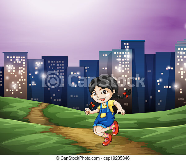 A young girl across the tall buildings in the city - csp19235346