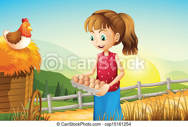 A young girl holding an egg tray - csp15161254