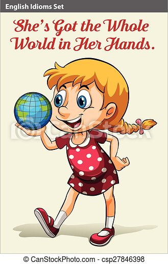 A young girl holding the globe - csp27846398