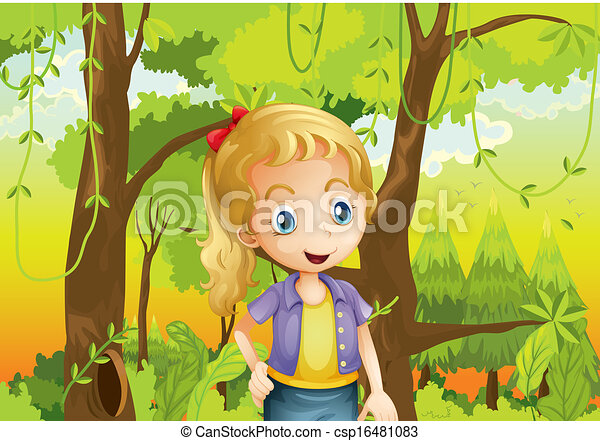 A young girl near the trees - csp16481083