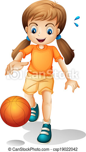 illustration of a young girl playing basketball on a white eps rh canstockphoto com girl basketball player clip art Girls Playing Basketball Silhouette Clip Art