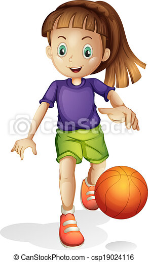 a young girl playing basketball illustration of a young girl rh canstockphoto com Girl Basketball Team Clip Art free clipart girl playing basketball