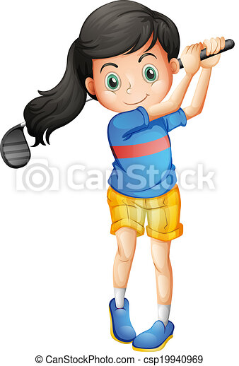 illustration of a young girl playing golf on a white clip art rh canstockphoto com clip art of a girl running clipart of a girl reading a book