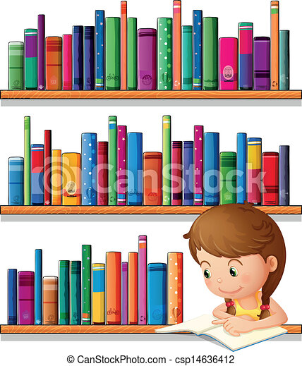 A young girl reading in the library - csp14636412