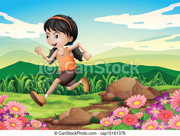 A young girl running hurriedly - csp15161376