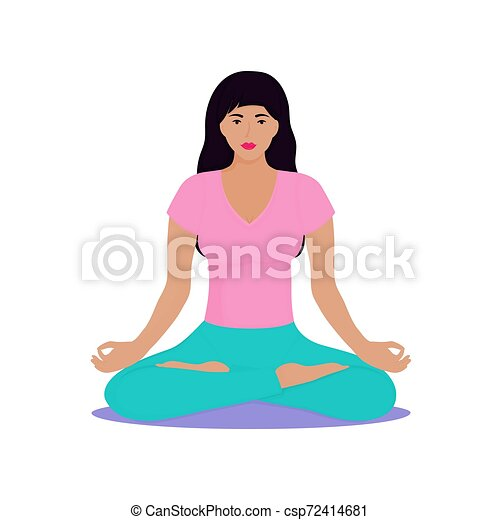 a young girl sits in a lotus position woman is doing yoga