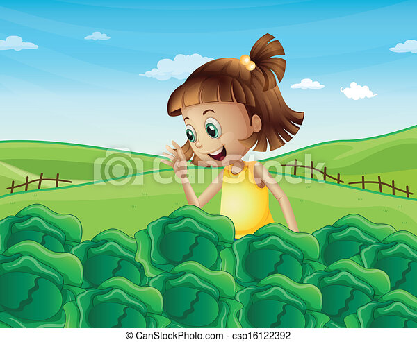 A young girl watching the growing vegetables at the farm - csp16122392
