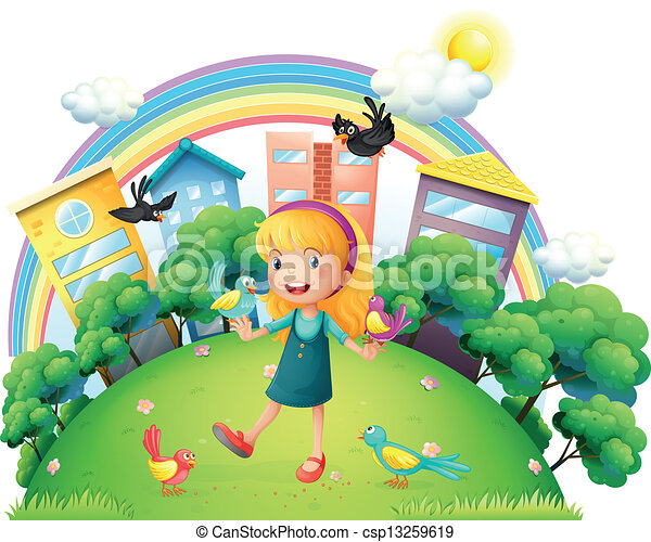 A young girl with a lot of birds - csp13259619