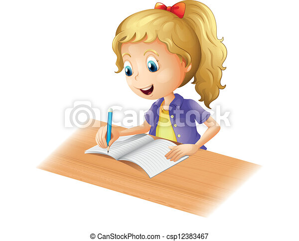 A young girl writing - csp12383467