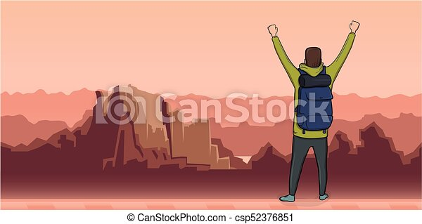 A young man, back view of backpacker with raised hands in mountain landscape. Hiker, Explorer. A symbol of success. Vector Illustration with copy space. - csp52376851