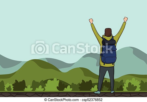 A young man, back view of backpacker with raised hands in a hilly area. Hiker, Explorer. A symbol of success. Vector Illustration with copy space. - csp52376852
