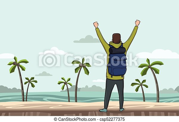 A young man, back view of backpacker with raised hands on the sea beach. Hiker, Explorer. A symbol of success. Vector Illustration with copy space. - csp52277375
