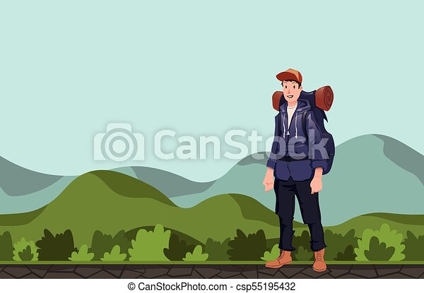 A young man, backpacker in a hilly area. Hiker, Explorer. Vector Illustration with copy space. - csp55195432