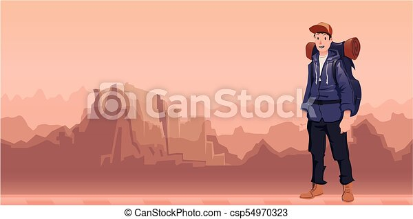 A young man, backpacker in mountain landscape. Hiker, Explorer. Vector Illustration with copy space. - csp54970323