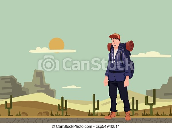 A young man, backpacker in the desert. Hiker, Explorer. Vector Illustration with copy space. - csp54940811