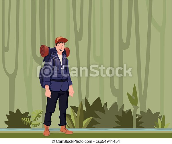 A young man, backpacker in the jungle forest. Hiker, Explorer. Vector Illustration with copy space. - csp54941454
