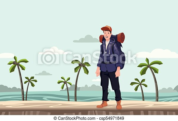 A young man, backpacker on the sea beach. Hiker, Explorer. Vector Illustration with copy space. - csp54971849