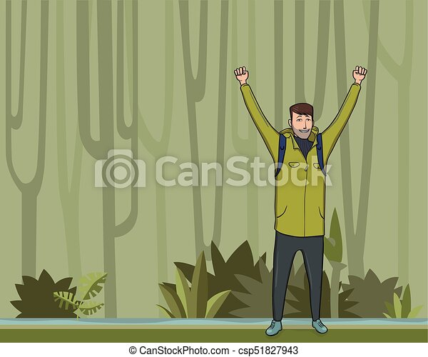 A young man, backpacker with raised hands in the jungle forest. Hiker, Explorer, mountaineer. A symbol of success. Vector Illustration with copy space. - csp51827943