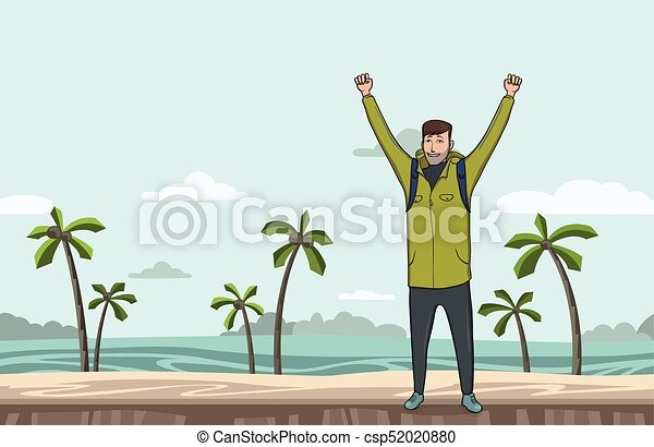 A young man, backpacker with raised hands on the sea beach. Hiker, Explorer. A symbol of success. Vector Illustration with copy space. - csp52020880