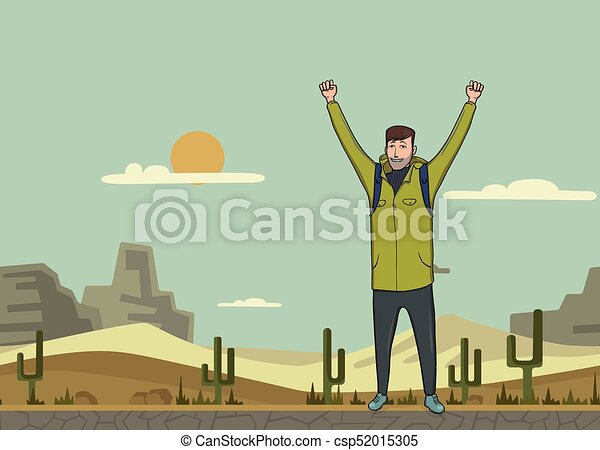 A young man, backpacker with raised hands in the desert. Hiker, Explorer. A symbol of success. Vector Illustration with copy space. - csp52015305